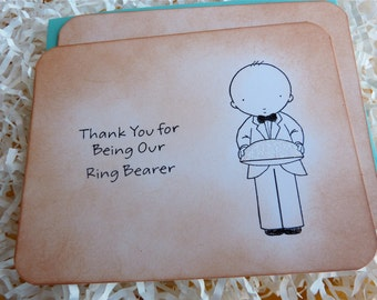 Ring Bearer Thank You Flat Note Card Vintage Style with Glitter