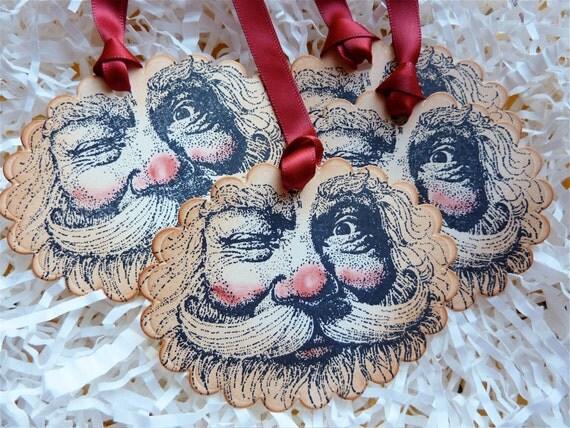 Santa Claus Christmas Tags Vintage Inspired, Saint Nick Holiday Tags
