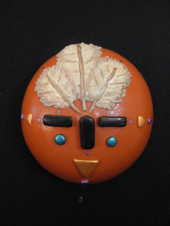 """65% OFF * * * Gourd Art - """"Three Feathers"""" Native American Inspired Mask - OOAK"""