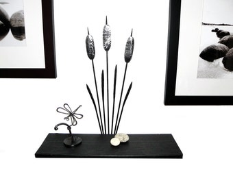 "Shelf  ""Cattail"" Metal and Wood (clear and black) 046"