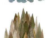 Sierra Mountains - 5x7 Watercolor Print