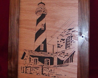 Cape Hatteras Lighthouse Scroll Saw Art Wood Picture