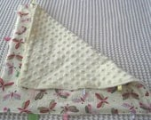 Pink and Green Butterflies on Butter Yellow Blanket