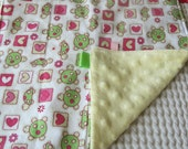 Made and Ready to Go 12x12 Girly Turtle Blanket Sale