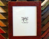 8x10 Picture Frame with Super Vintage Red Dye Finish and Rustic Lap Joint Corners in Reclaimed Fir
