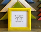 5x5 Square Picture Frame with Vintage Yellow Finish in Double Cove Style
