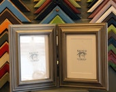 Two 8x10 Picture Frames with Vintage Silver Finish in Mulder Style Hinged Together