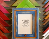 5x7 Picture Frame with Super Vintage Blue Finish in Vintage Orange Cooper Build Up Style and One Heart Embellishment