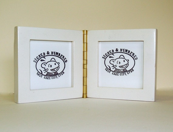 Double Square Picture Frames with Hinge - 1x1 inch style, holds 4x4 inch photos
