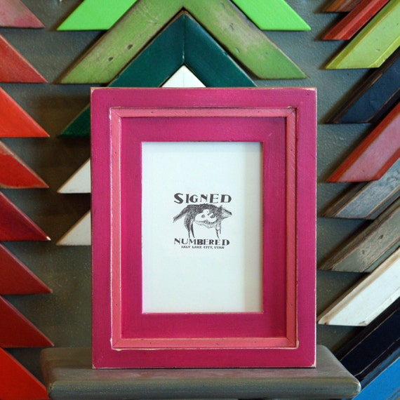 5x7 Picture Frame with Vintage Cerise Finish in Vintage Pink Cooper Build Up Style - SAME DAY SHIPPING