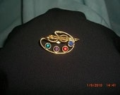Gold metal pin Colored stones Pin great gift for the artist