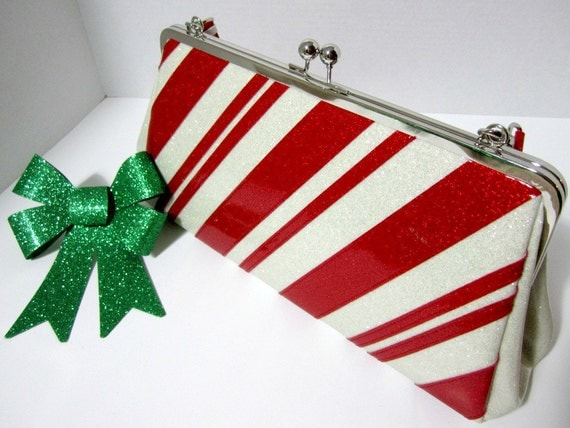 Limited Time Retro Redone Christmas Candy Cane Rockabilly Glitter Vinyl Handbag - Ruby Red with White Stripes