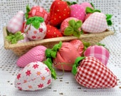 red pink strawberries filled with natural wool and organic lavender from my garden- Set of 3