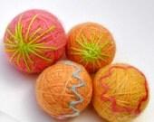 Wool balls dryer  colours orange lime pink blue yellow set  of 4
