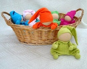 Teething waldorf  doll for baby girl and boy  from cotton very soft terry, first baby toy green