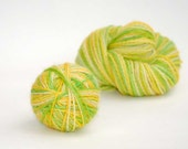 soft Baby  alpaca yarn Hand dyed  Handpainted wool , colour  Spring green yelow gold 50 gramms, warm some striped baby socks