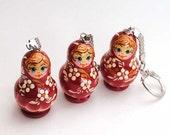 spring sale clerance key chain  Russian Wooden ecofrendly Doll - red Matreshka matryoshka babushka keychain