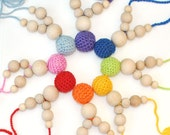 On sale necklace with Wood  and Crochet beads orange summer  - teething and fun for baby and mum - eco friendly gifts for kids