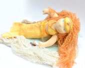 waldorf doll handfelted cloth mermaid set for doll, baby cocoon color  gold. oaok customised