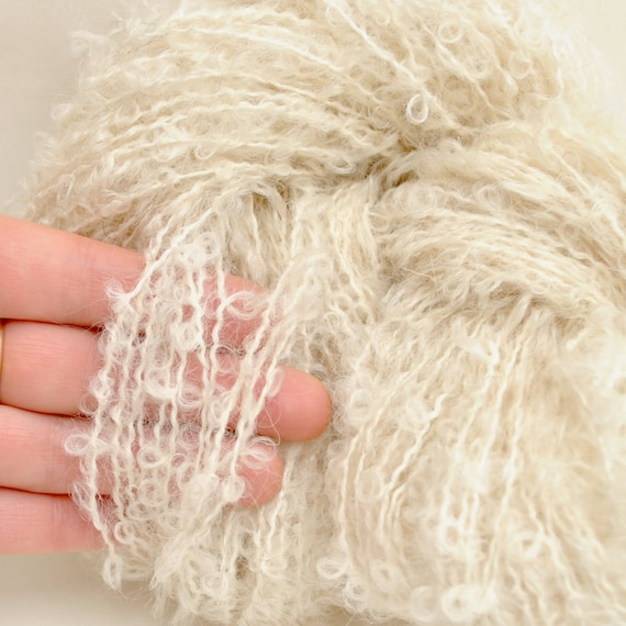 Kid Mohair boucle Yarn natural white color -  perfect for doll hair and knitting.