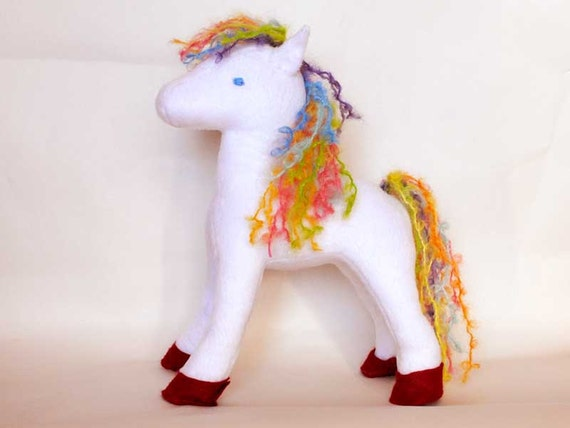 Stuffed Pony - Horse White with rainbow mane and tail  Stuffed animal toy, toddler, boy no for baby, Custom made order