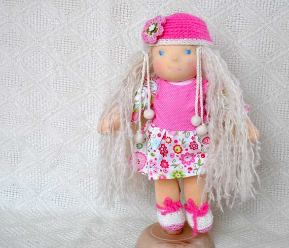"Waldorf style doll bamboletta Rosalia 16""( 40 cm) stylable hair from Super Kid Mohair , floral spring dress white and pink"