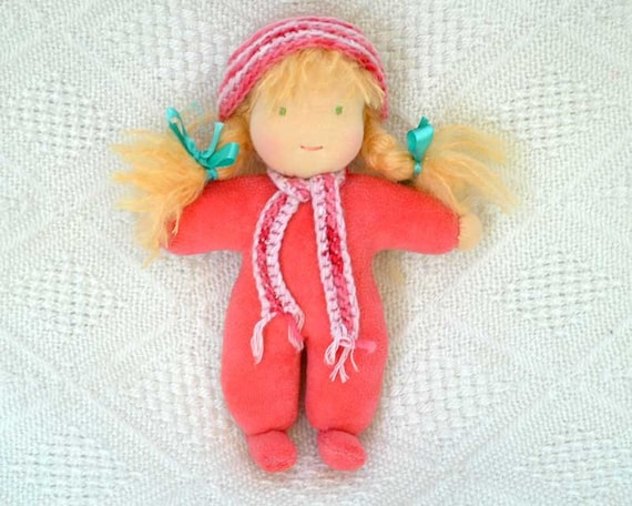 Waldorf doll coral, 10 inch, made of natural materials, bright long blond stylable hair, eco friendly gifts for kids