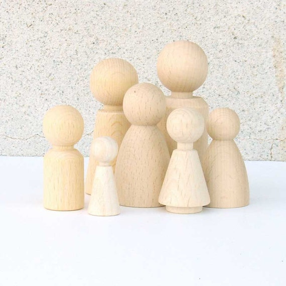 Waldorf  Family of 7 eco friendly Wooden pocket doll gnomes -  Children Spring Toy, home Decoration, party favors