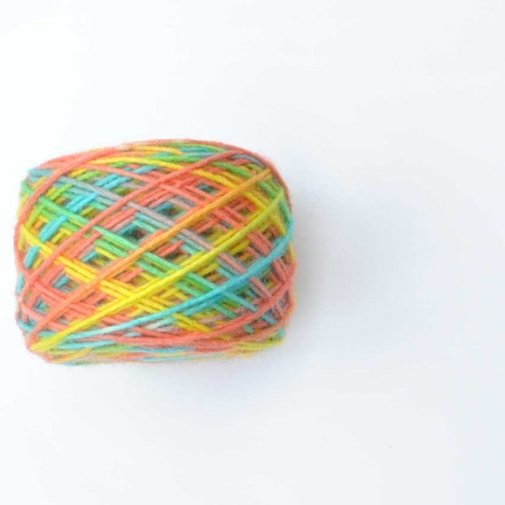 Rainbow spring Nylon / wool Hand dyed Yarn colored flower tulip - for children self stripe sock, cup, baby sweater