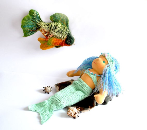Waldorf Doll  Mermaid Ariel - crochet set  for dolls, baby cocoon  eco friendly gifts for kids