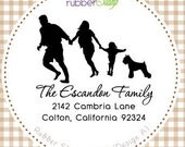 Personalized Rubber Stamp (Happy Family with Pet) Your Choice of dog or cat silhouette (1087)