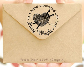 Personalized Crochet Stamp • Hand Crocheted with love by • Crocheted by • Created by • Handmade by Stamp (P2243)