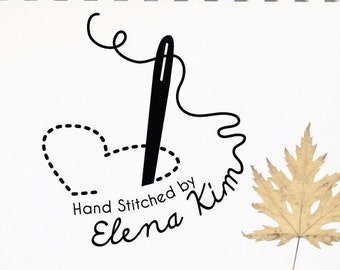 Custom Rubber Stamp • Hand Stitched • Hand Sewn • Created with love by your name • Handmade Stamp • Sewing Stamp • Mother's Day (P2245)