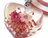 Pink Wildflower Heart Pendant Necklace