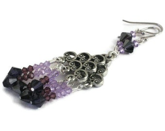 Purple Swarovski Chandelier Earrings, Gifts for Women, Gifts Under 30, Gifts for Mom, Christmas, Birthday, Black Friday, Cyber Monday