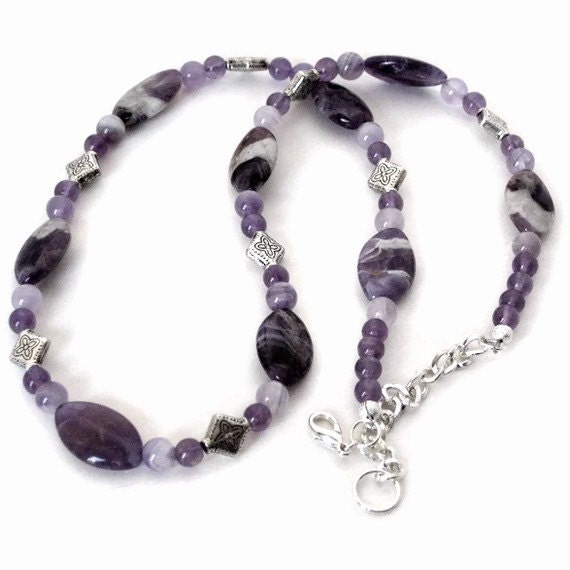 Chevron Amethyst Necklace, Gift for Women, Gifts Under 50, Last Minute, Gift Wrapped, Gifts for Mom, Mothers Day