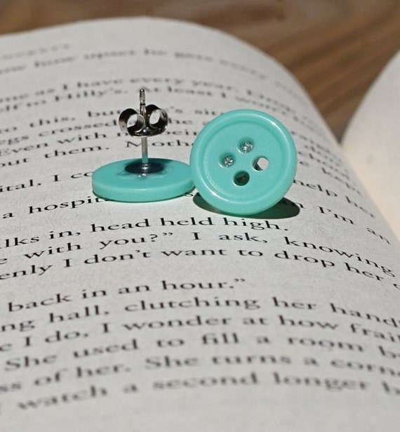 Tiffany Blue Button Earrings