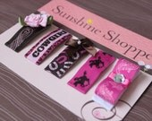 Boutique Style Baby Toddler Two Inch Snap Clips - Cowgirl Collection - set of 5