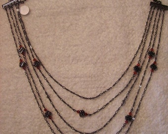 Necklace - Gunmetal and Swarovski