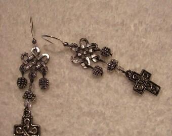 Earrings - Dangling Crosses
