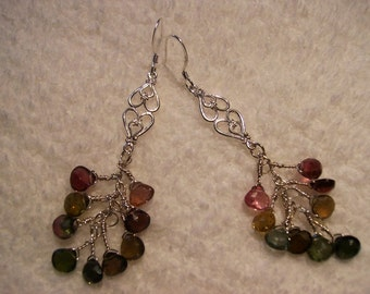 Earrings Sterling Silver and Tourmaline