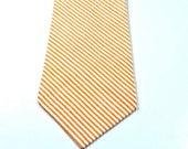 Orange Neckties, Mens Neckties, Neckties, Cotton Neckties, Seersucker Neckties, Custom Neckties, Orange and White, Wedding Neckties,