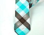 Aqua and Brown Plaid Neckties