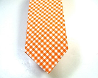 Orange Gingham Mens Necktie