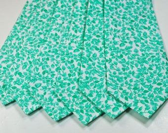 Green Floral Neckties Emerald Neckties Green Neckties Custom Neckties Wedding Neckties Neckties