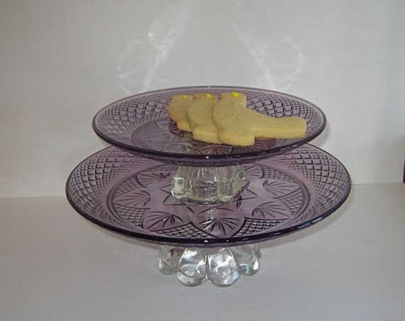 Vintage amethyst cut glass cake stands by tuxandtulle on etsy for Colored glass cake stand