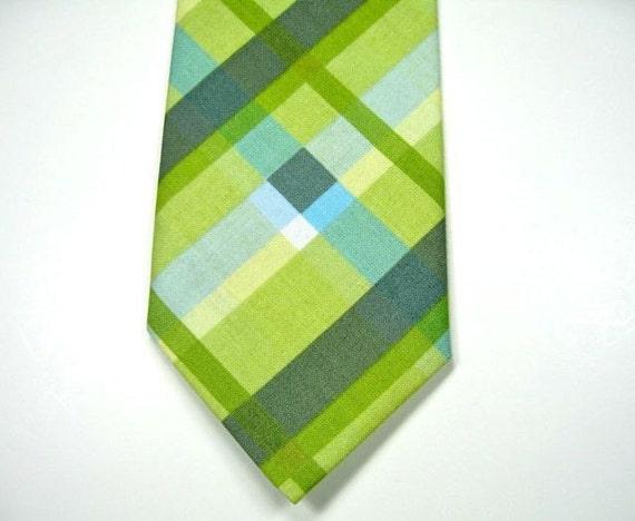 Mens Green Plaid Neckties