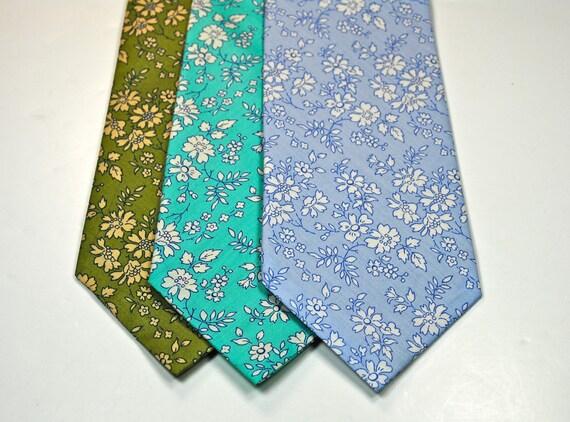 Custom Listing for Melanie, 7 Floral Aqua Mens Neckties,  1 Aqua Bow Tie, Custom Neckties, Wedding Neckties, Cotton Neckties, Blue Neckties