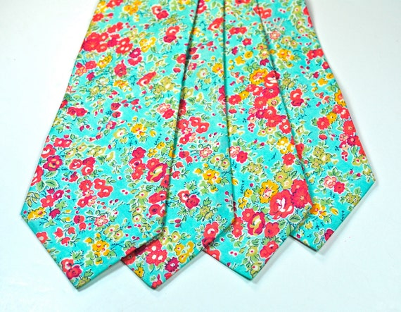 Neckties, Blue Floral Neckties, Liberty Print Neckties, Cotton Neckties, Mens Neckties, Floral Neckties, Custom Neckties, Blue and Pink