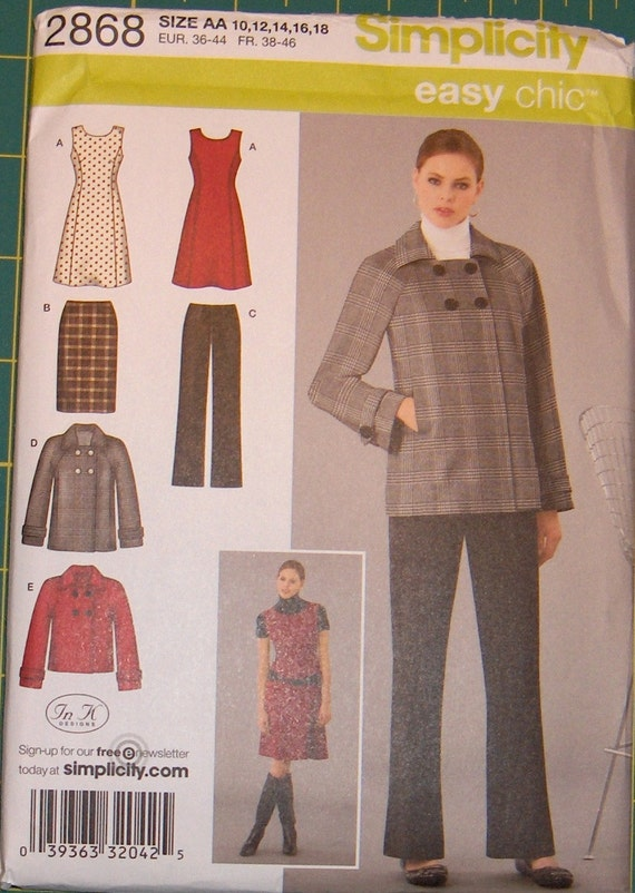 Simplicity Easy Chic Wardrobe Pattern 2868 Sizes 10-18